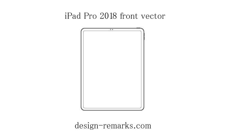 iPad Pro 2018の無料ベクター素材(正面の線画)
